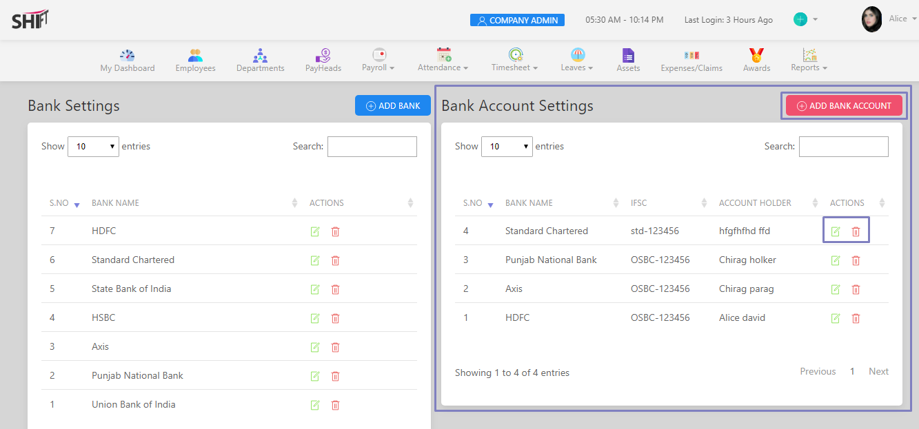 SHIFTHRM Bank Account Settings