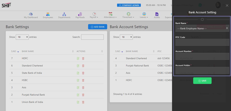 SHIFTHRM Add Bank Account