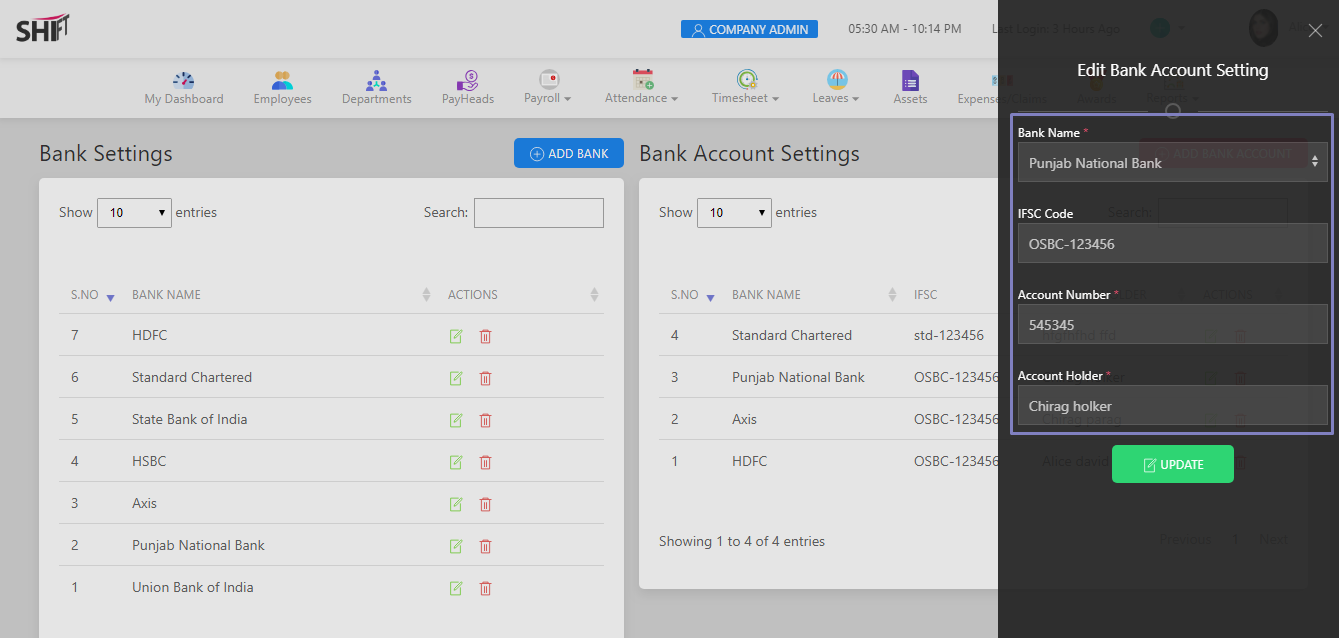 SHIFTHRM Edit Bank Account