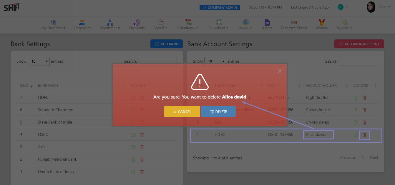 SHIFTHRM Delete Bank Accounts