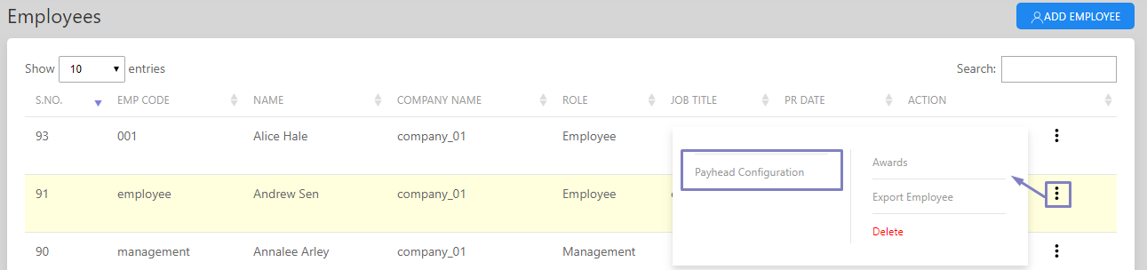 SHIFTHRM Add Payheads From Employee Module